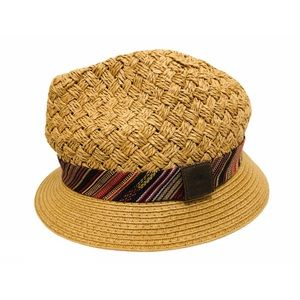 ROOTS Woven Fedora 100% Paper Embroidered Band OS